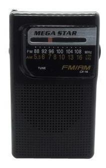 Rádio Portátil Am Fm Mega Star Cx-16 - Preto