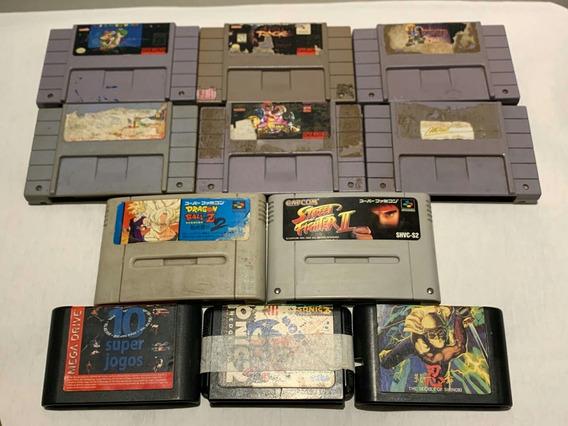 Lote 11 Cartuchos Super Nintendo Mega Drive Diversos