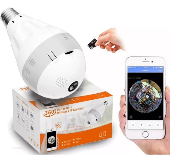 Lampada Câmera Espiã Infravermelho Ip Wifi Hd Panoramica 360 Ultimas Unidades Barato
