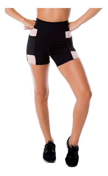 Short Poliamida Preto Com Bolso Em Tela Moda Fitness