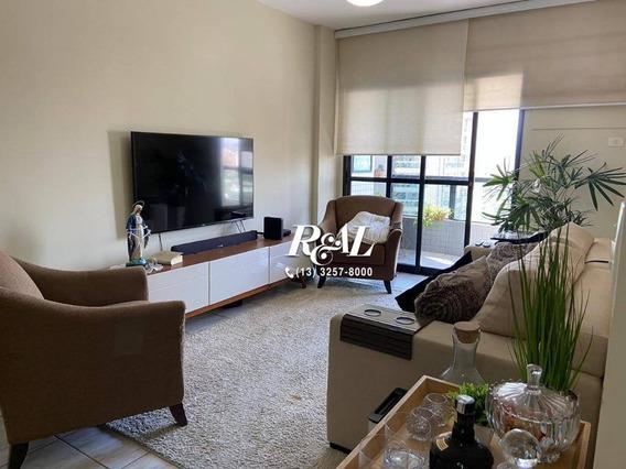 Apartamento Com 3 Dormitórios Para Alugar, 130 M² - Boqueirão - Santos/sp - Ap5706