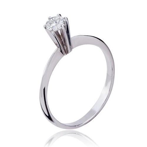 Solitário Com Diamante Em Ouro Branco 18k - Als10