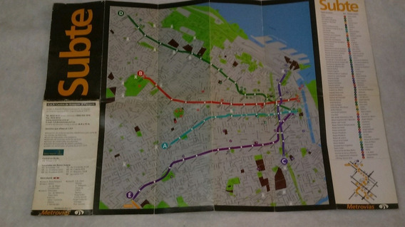 Antiguo Mapa Subte Caba 1998. Anterior A La Linea H