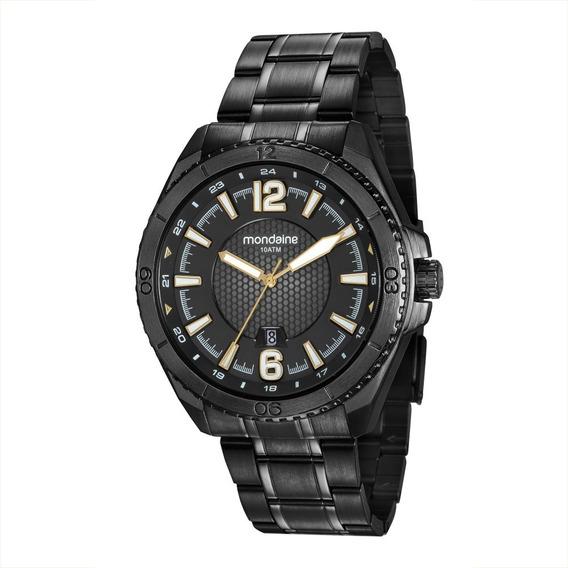 Relógio Masculino Mondaine Aço Preto Analógico 53696gpmvps2