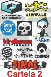 Pack Com 10 Cartelas Marcas Patrocinadores Skate Diversas