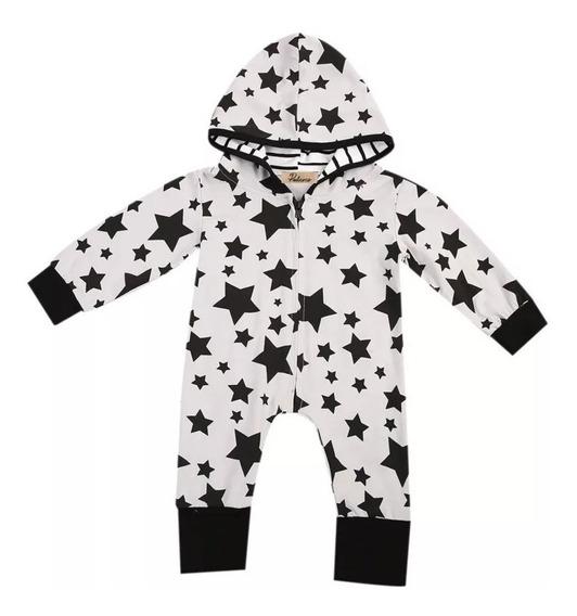 Mameluco Para Niños Bebés Estampado Estrellas Y Capucha