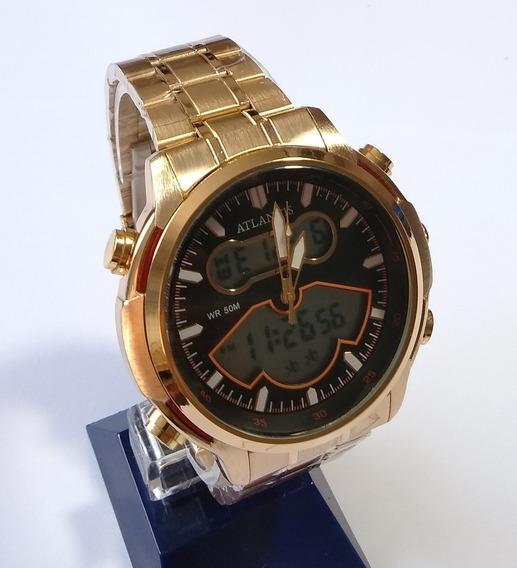 Relógio Masculino Dourado Atlantis Original G-3448.
