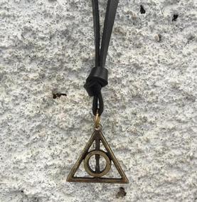 Colar Relíquias Da Morte Harry Potter Em Couro E Ouro Velho.