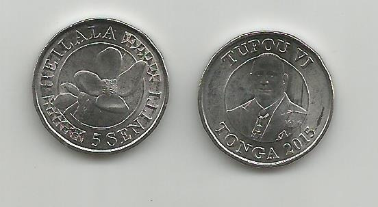 Moneda Tonga Flora 5 Seniti. 2015 S/c