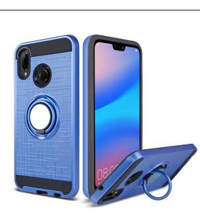 Funda + Vidrio Huawei P20 Lite Azul Anillo Apoyo, Para Imán