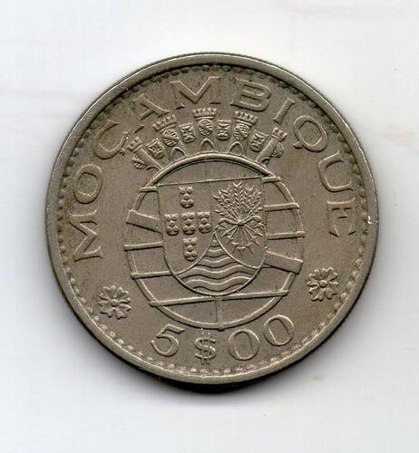 Mozambique Colonia Moneda 5 Escudos 1973 Km#86 - Argentvs
