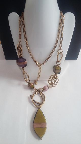 Collar+pulsera+aretes - Morado Metalico-