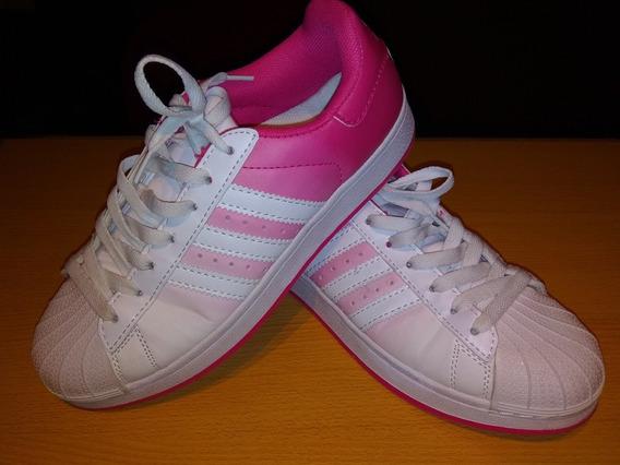 Zapatillas De Mujer, Tipo Superstar, Color Único Como Nuevas