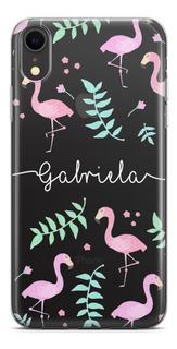 Capinha De Celular Flamingos Com Nome Diversos Modelos