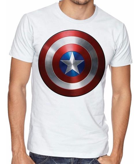 Camiseta Capitao America Escudo Blusas Manga Curta Tamanho