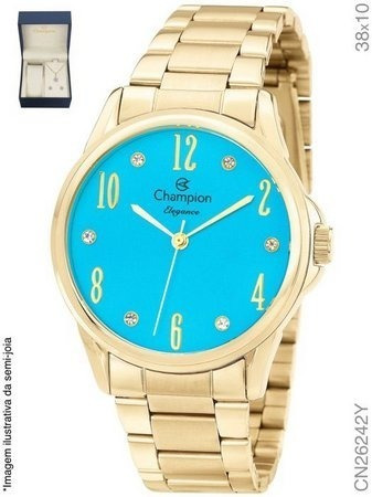 Relógio Champion Dourado Feminino Azul Kit Cn26242y