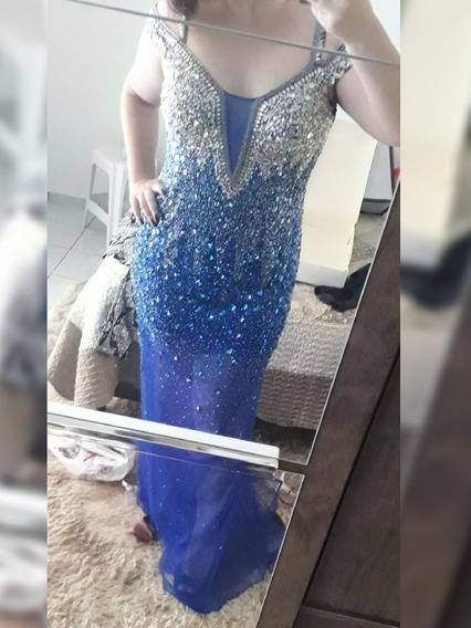 Vestido Longo De Festa Azul Bic Com Brilho - Formanda