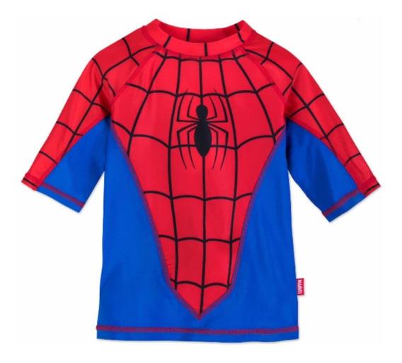 Traje De Baño Camisa Spiderman Niño Original Disney Store