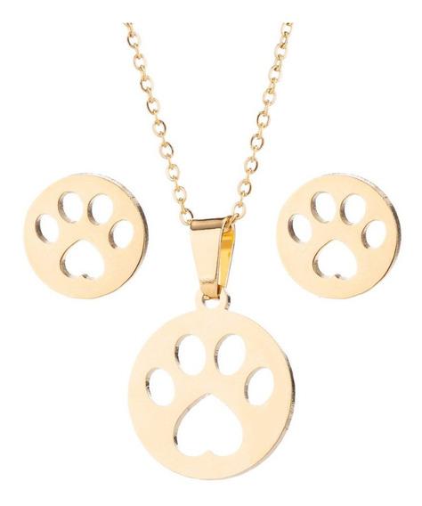 Set: Collar + Aretes Huella Perro Gato Dog Acero Inoxidable