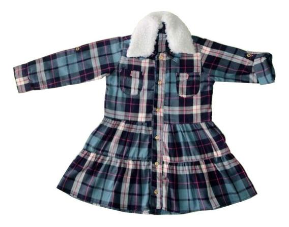 Vestido Bebê Menina Flanela Xadrez - Clube Do Doce