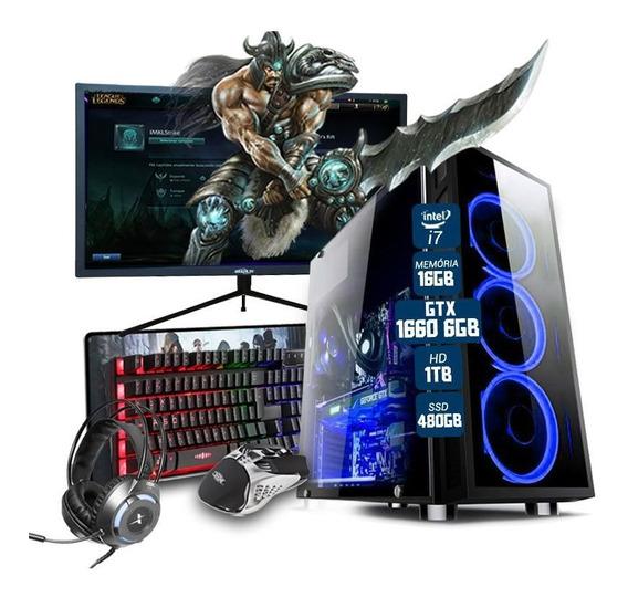 Pc Gamer Completo I7 Gtx 1660 6gb 16gb Ssd 480gb Mon. 27