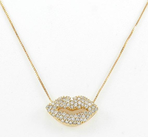 Esfinge Jóias - Corrente Boca Beijo Diamantes Ouro 18k 750.