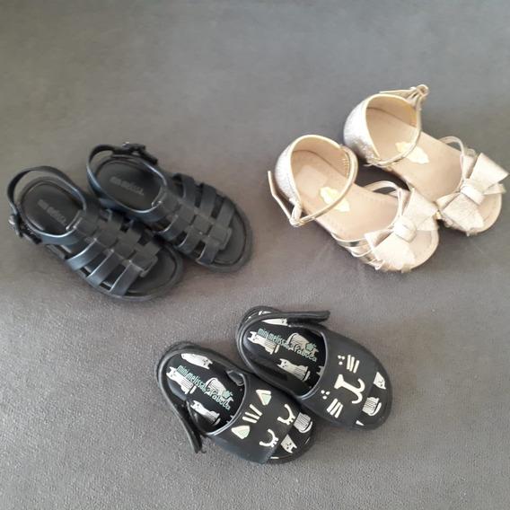 Calçado Para Meninas 2 Sandálias Melissa + Sapatilha - 3 Pçs