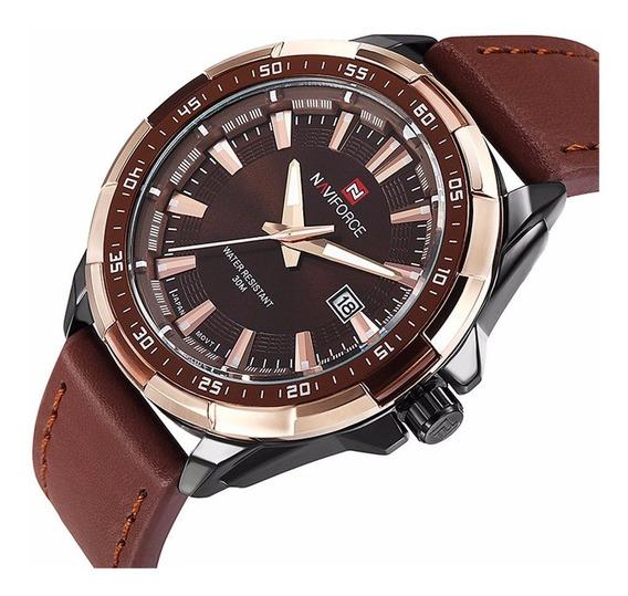 Relógio Masculino Militar Naviforce Nf9056 Couro Original