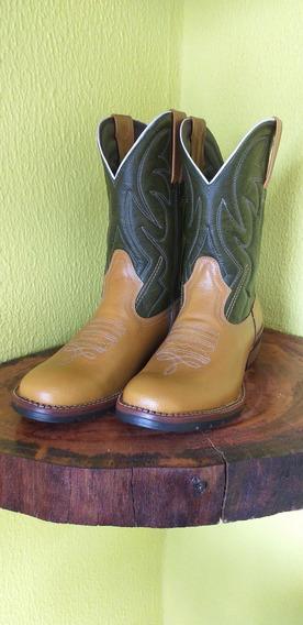 Bota Texana Country Bico Redondo Verde/laranja Masculina
