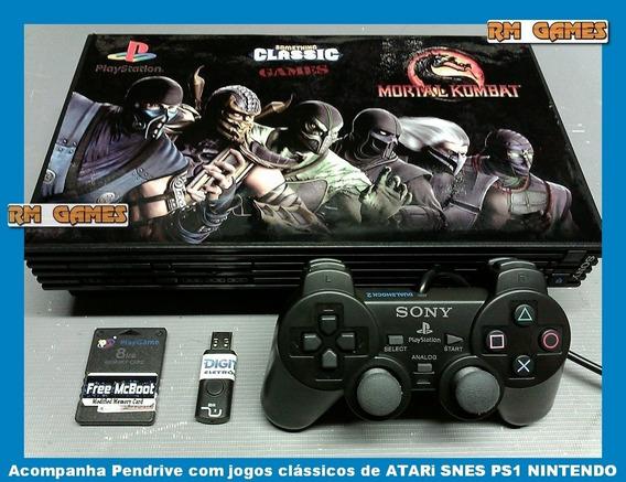 Play 2 Fat Ps2 + Pendrive 300 Jogos Atari Snes Ps1 Nintendo