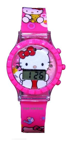 Relógio Hello Kitty Infantil Com Som Luzes Pink 3d Original
