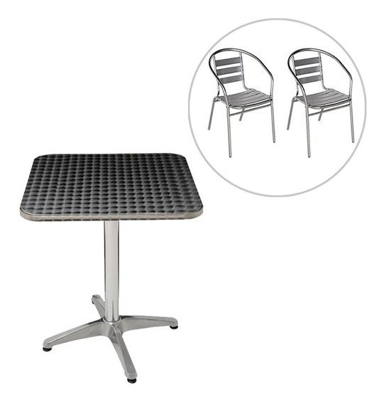 Mesa Com 2 Cadeiras Poltrona De Alumínio Mor Para Jardim
