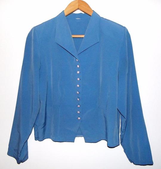 Linda Camisa Celeste Vintage Entallada Talle L