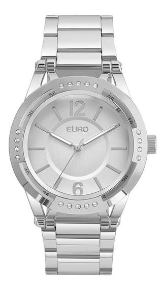 Relógio Feminino Euro Prata Com Pedras Eu2035ymr/3k