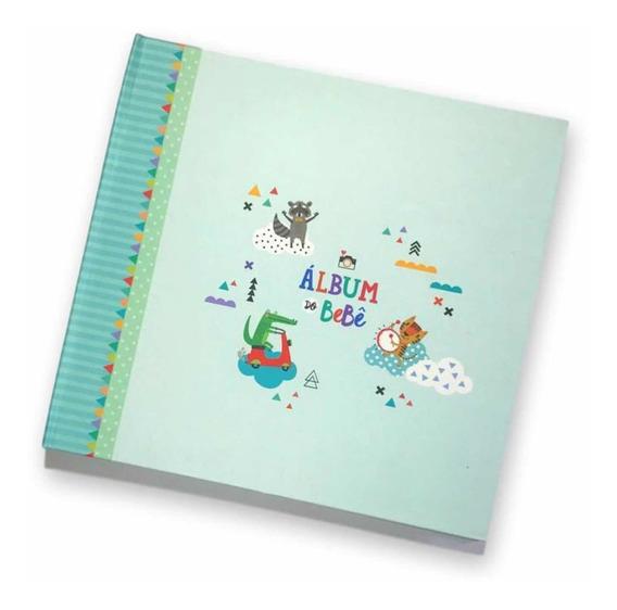 Album Livro Diário Do Bebê Verde + Bloquinho Rotina Do Bebê