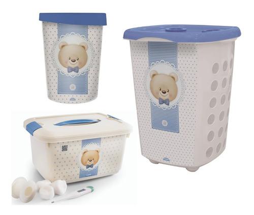 Kit Banho P/bebê 1 Lixeira 1 Cx Organizadora 1cesto Urso Ted