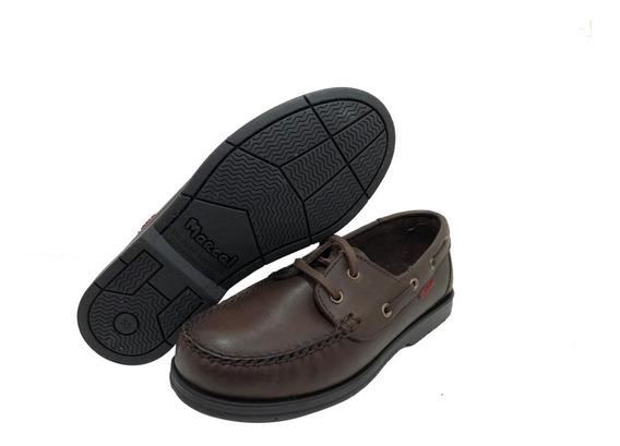 Zapato Nautico Cuero Cosido Suela Goma Marcel Art 500 Mr