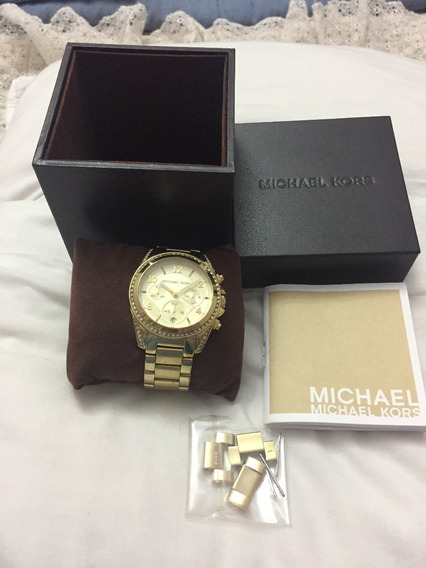 = Relogio De Pulso Michael Kors Dourado 5166 Caixa Manual Or