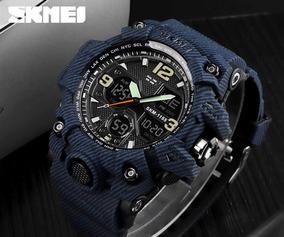 Relógio Skmei 1155 Jeans Azul Completo Caixa E Garantia