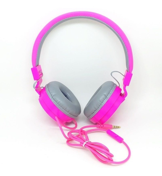 Fone De Ouvido Rosa Grande C/ Microfone Em 6x Sem Juros