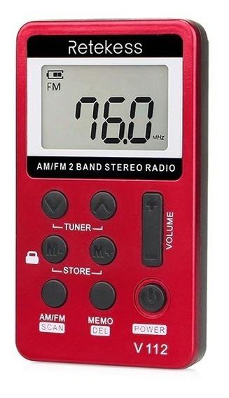 Mini Rádio Bolso Portátil Digital Fm C/ Fone Retekess V112
