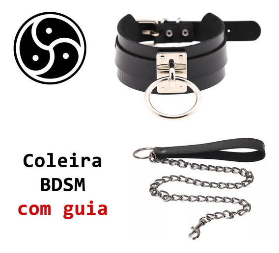 Coleira C/ Guia - Colar - Choker Gargantilha Bdsm