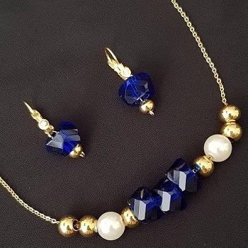 Set De Collar Y Aretes De Acero Inox Dorado - Minox Joyería