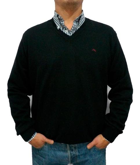 Sweater Hombre Algodón Escote V Lagomarsino Negro Crespo