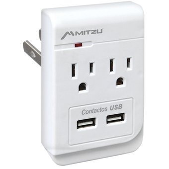 Multicontacto Tomacorriente 2 Ac 2 Usb 2.1a 110joules Ivory