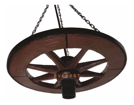 Luminária Pendente Lustre Roda De Carroça Fazenda Rústico