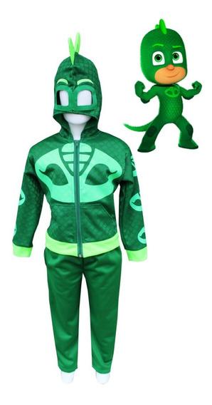 Disfraz Gekko Heroes En Pijama Pj Masks- Pans 2en1 Premium