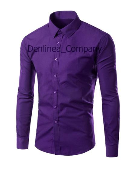 Camisa Caballero Unicolor Slim Fit Denlinea