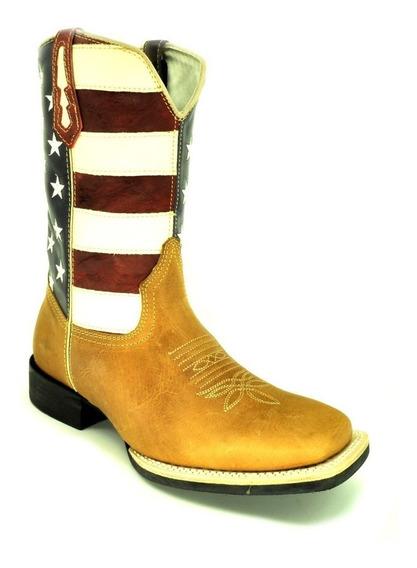 Bota Masculina Bico Quadrado Bandeira Usa Vimar West Country