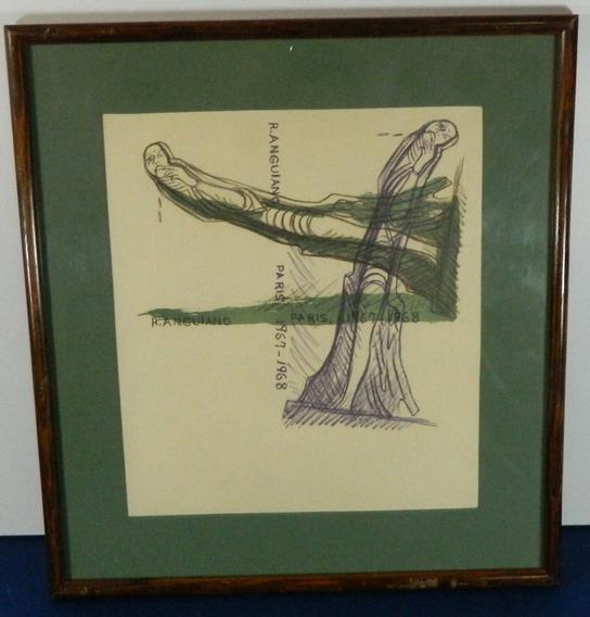Raúl Anguiano Dibujo A Lápiz París 1967-1968 Enmarcado